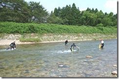 女川にてウナワ漁の実演