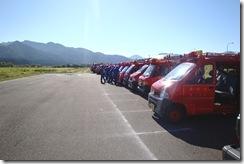 関川村の消防車集合