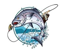 鮭釣りイラスト